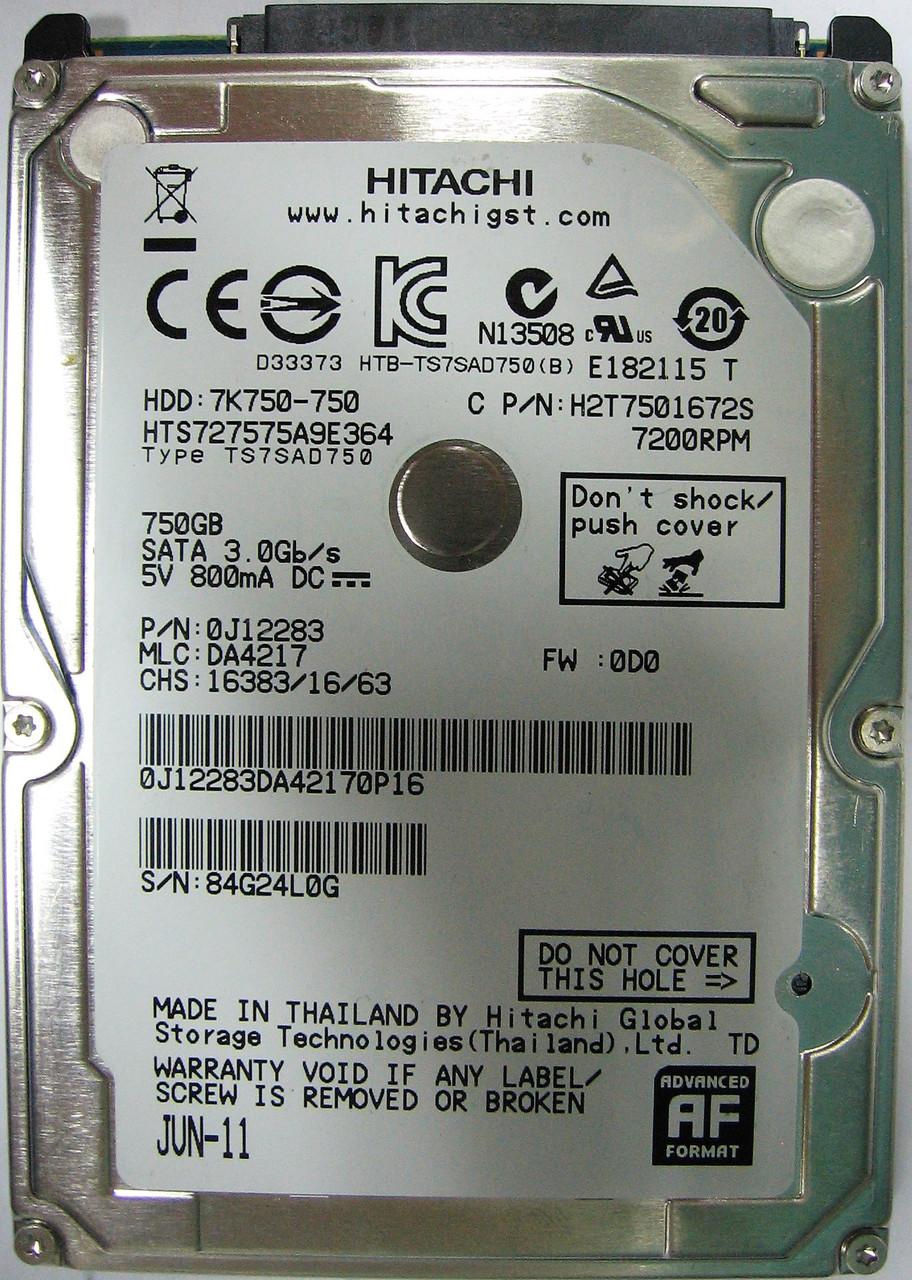 Жесткий диск HDD 750GB 7200rpm 16MB SATA II 2.5 Hitachi HTS727575A9E364 84G24L0G