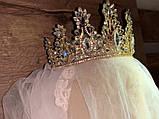 Розкішна висока Корона півколом золотого кольору (9 см), фото 4