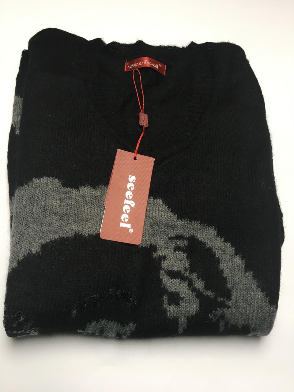 Свитер-туника теплый серый черный с принтом