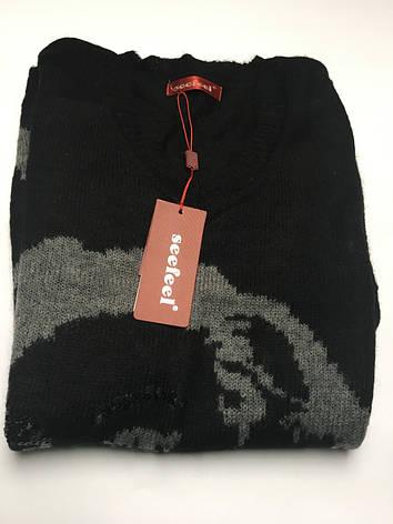 Свитер-туника теплый серый черный с принтом, фото 2