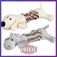Trixie TX - 35894 собачка или бегемотик для собак - игрушка с канатом и пищалкой 1 шт 32 см