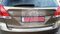 Защитная хром накладка на задний бампер (планка без загиба) Toyota venza FL (тойота венза 2012+)