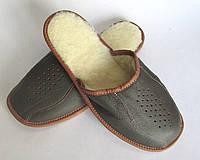 Кожаные тапочки зимние, мужские ТЗМ3