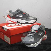 Кроссовки Nike M2K Tekno Grey/White/Red женские, Найк М2К Техно, натуральная кожа, код ТО-072. Серые