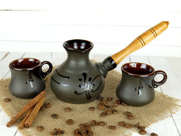 Турка Ієрогліф керамічна з дерев'яною ручкою в наборі з чашками 200 мл