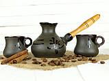 Турка Ієрогліф керамічна з дерев'яною ручкою в наборі з чашками 200 мл, фото 2