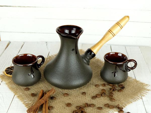 Турка Аладін керамічна з дерев'яною ручкою в наборі з чашками 300 мл