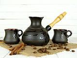 Турка Ієрогліф керамічна з дерев'яною ручкою в наборі з чашками 350 мл, фото 2