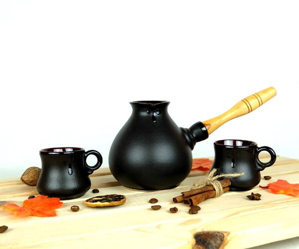 Турка Капля керамічна з дерев'яною ручкою в наборі з чашками 500 мл