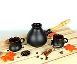 Турка Капля керамічна з дерев'яною ручкою в наборі з чашками 500 мл, фото 2