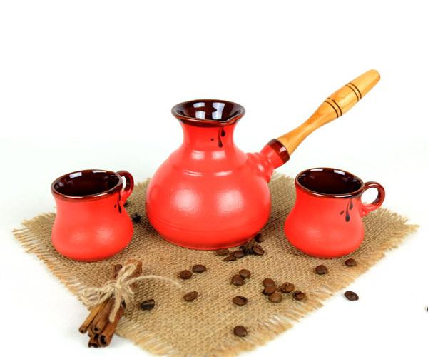 Турка Червона керамічна с дерев'яною ручкою та чашками 350 мл