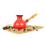 Турка Червона керамічна с дерев'яною ручкою 350 мл, фото 2