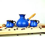 Турка Синя керамічна с дерев'яною ручкою та чашками 350 мл, фото 2