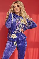 Женский велюровый спортивный костюм с аппликацией, размеры 48-50,52-54,56