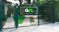 Секционные распашные ворота 1.5х5 м (RAL 6005). Монтаж ворот и секционных ограждений