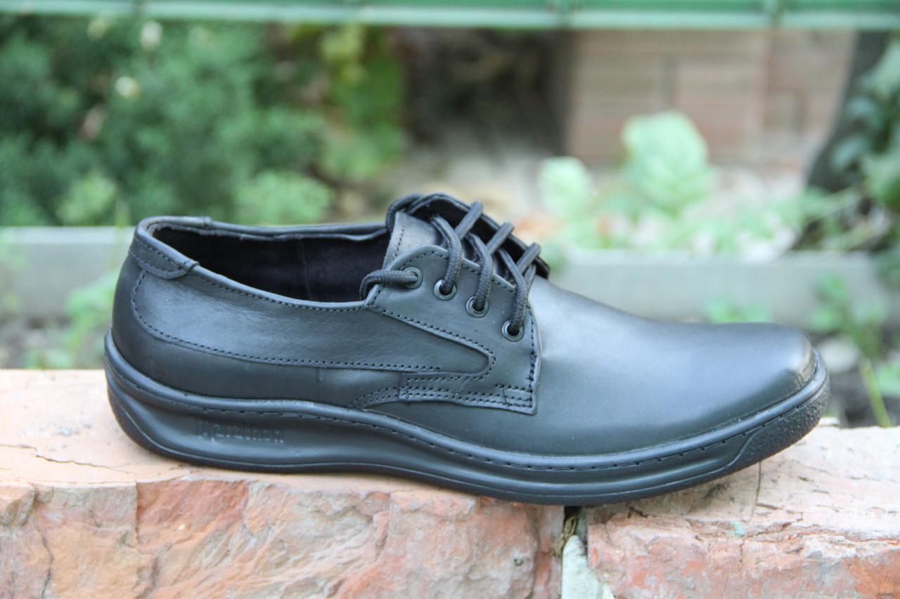Туфли мужские из натуральной кожи черного цвета на шнуровке Д 502