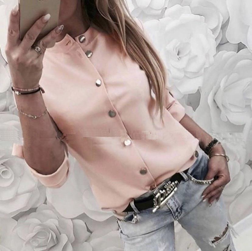 Рубашка женская классическая летняя, легкая, офисная, длинный рукав, на пуговицах, воротник стойка, рукав 3\4