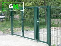 Секционные распашные ворота 1.75х4 м (RAL 6005). Монтаж ворот и секционных ограждений