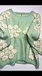 Свитер женский теплый мятный, кремовый с цветами, фото 5