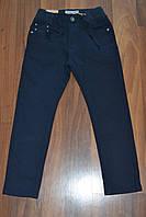 Темно-синие котоновые брюки для мальчика на резинке в школу, р.128