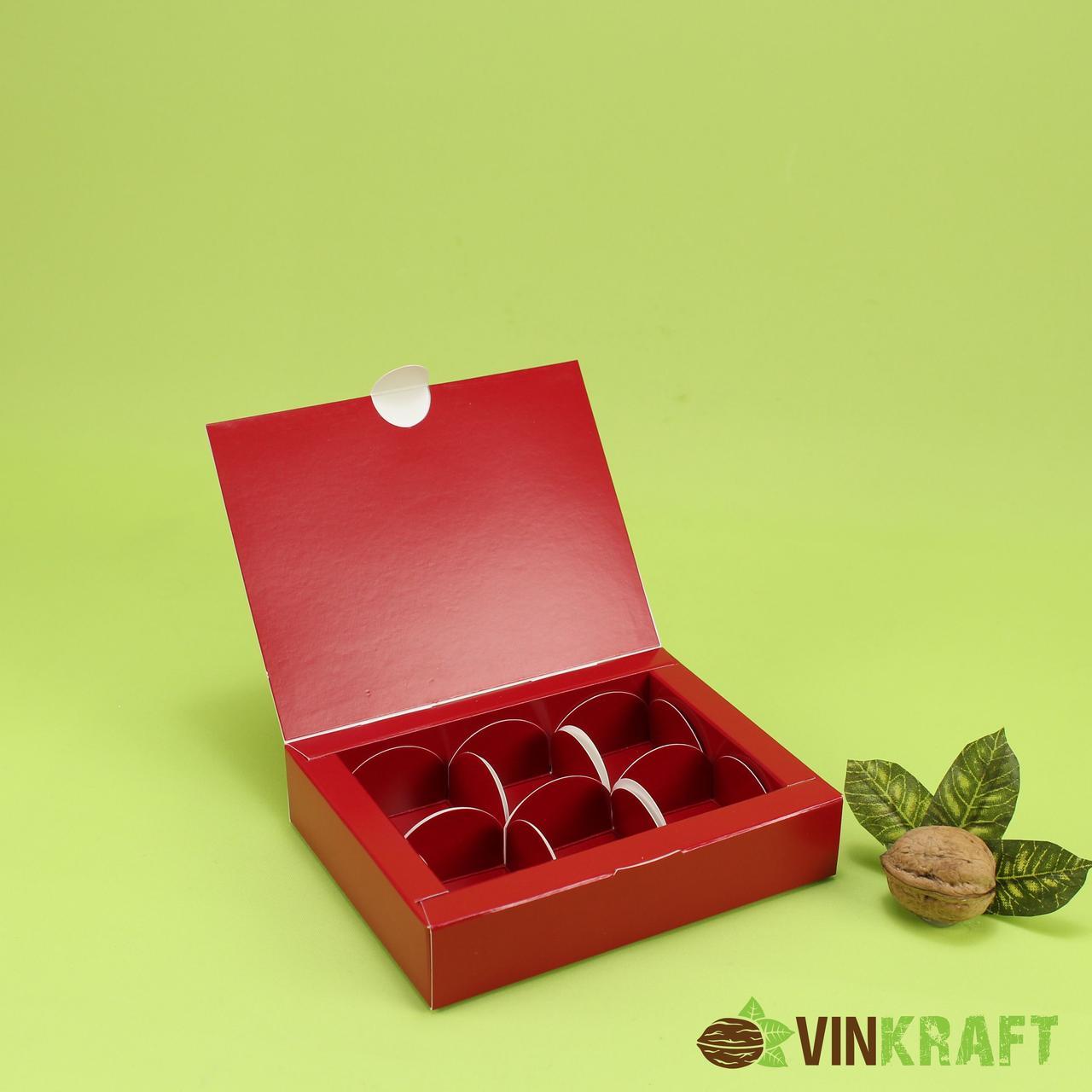 Коробка 110*145*30 для цукерок (6 шт), червона