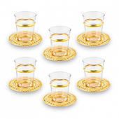 Набор чайных стаканов Doreline золотистый на 6 персон