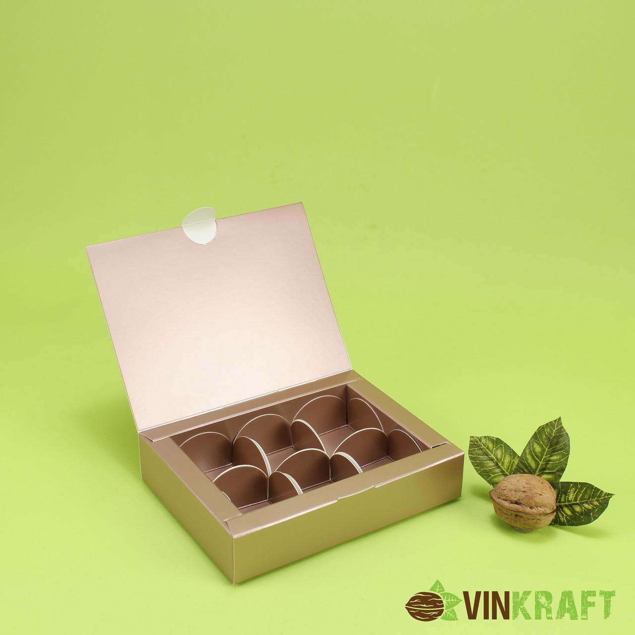 Коробка 110*145*30 для цукерок (6 шт), коричневий металік