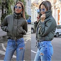 😜 Куртка - женская укороченная куртка осенняя цвета хаки