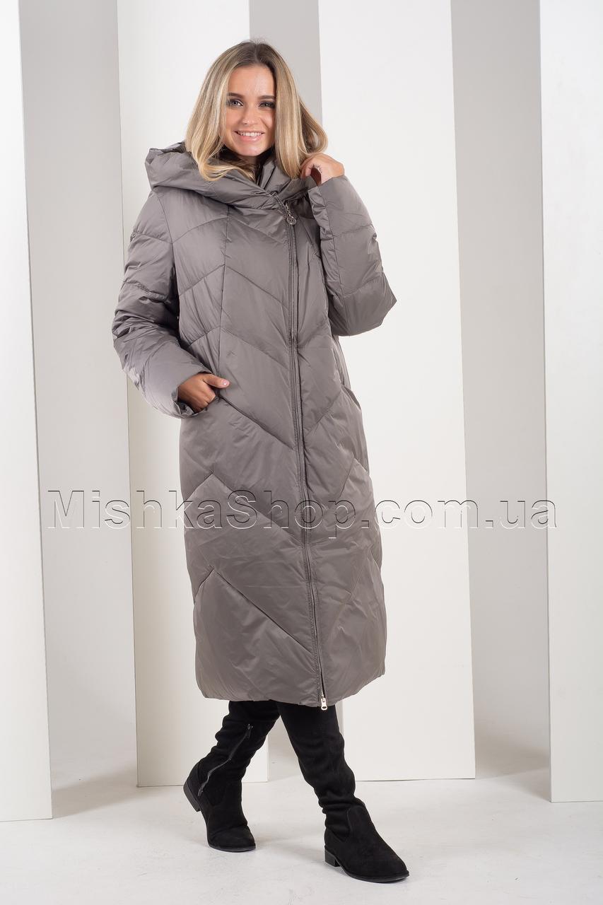 Длинный пуховик больших размеров серого цвета Icedewy 96912D