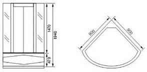 "Душевая кабина с глубоким поддоном 1000*1000*1940 мм, стекло (4мм) ""FABRIC"" (в комплекте с глубоким поддоном), фото 3"