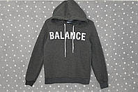 """Толстовка с капюшоном теплая на флисе """"Balance"""" - темно-серый, фото 1"""