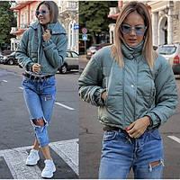😜 Куртка - женская укороченная куртка осенняя оливкового цвета