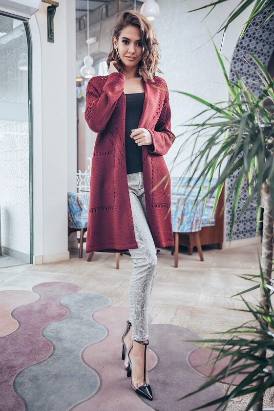 Модный женский кардиган с карманами Эмили марсала (44-52)