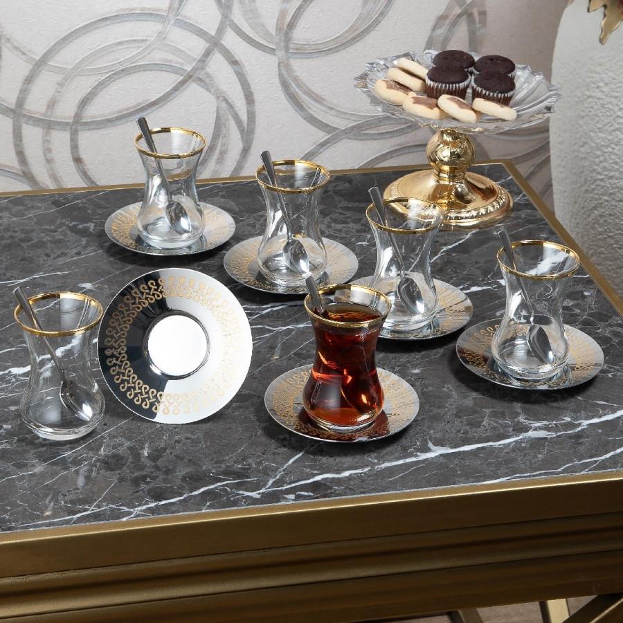 Чайные армуды Doreline Бесконечность с позолотой 6 штук
