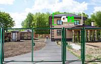 Секционные распашные ворота 2х4 м (RAL 6005). Монтаж ворот и секционных ограждений