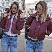 😜 Куртка - женская укороченная куртка осенняя бордового цвета