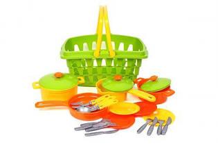 Набор посудки в корзинке  Технок  (19 шт) 4456