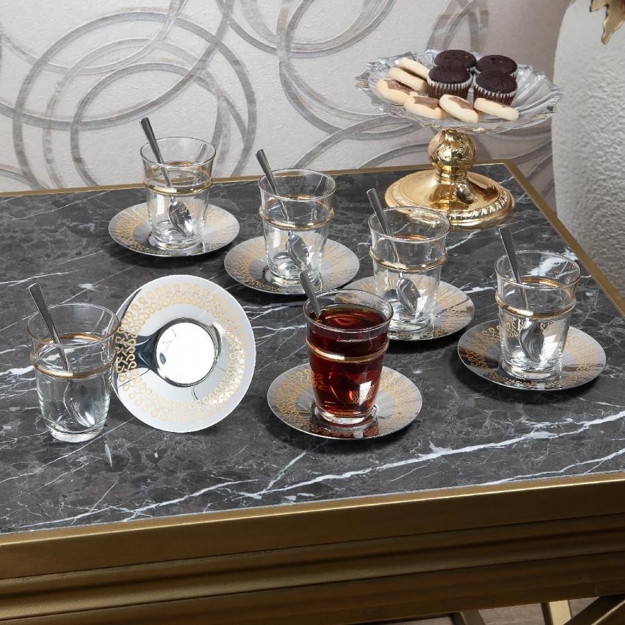 Чайные армуды Doreline Бесконечность с позолоченым кантом 6 штук