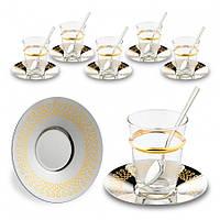 Набор чайных стаканов Doreline Бесконечность с позолотой на 6 персон, фото 1