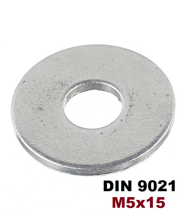 М5х15мм Шайбы кузовные увеличенные плоские Оцинкованные (DIN 9021)
