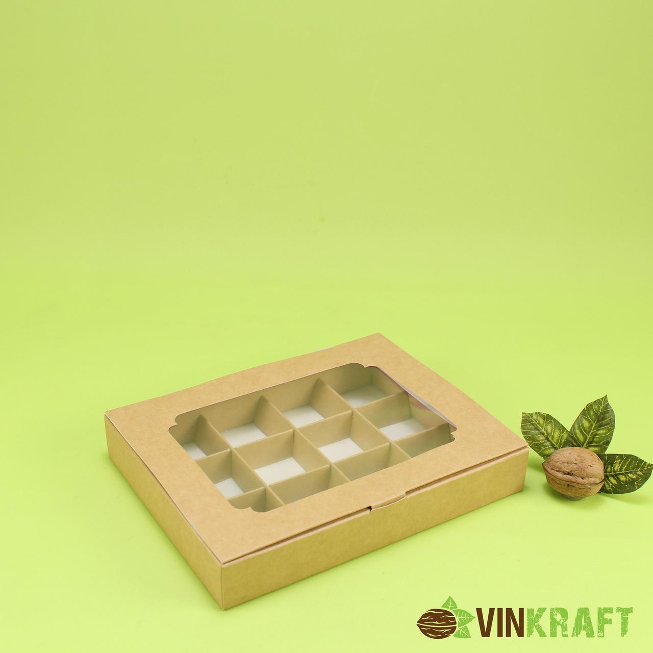 Коробка 200*150*30 для цукерок  з вікном (12 шт), крафт