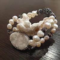 Дизайнерский браслет из натурального Жемчуга с  Друзами Агата и люкс фурнитурой