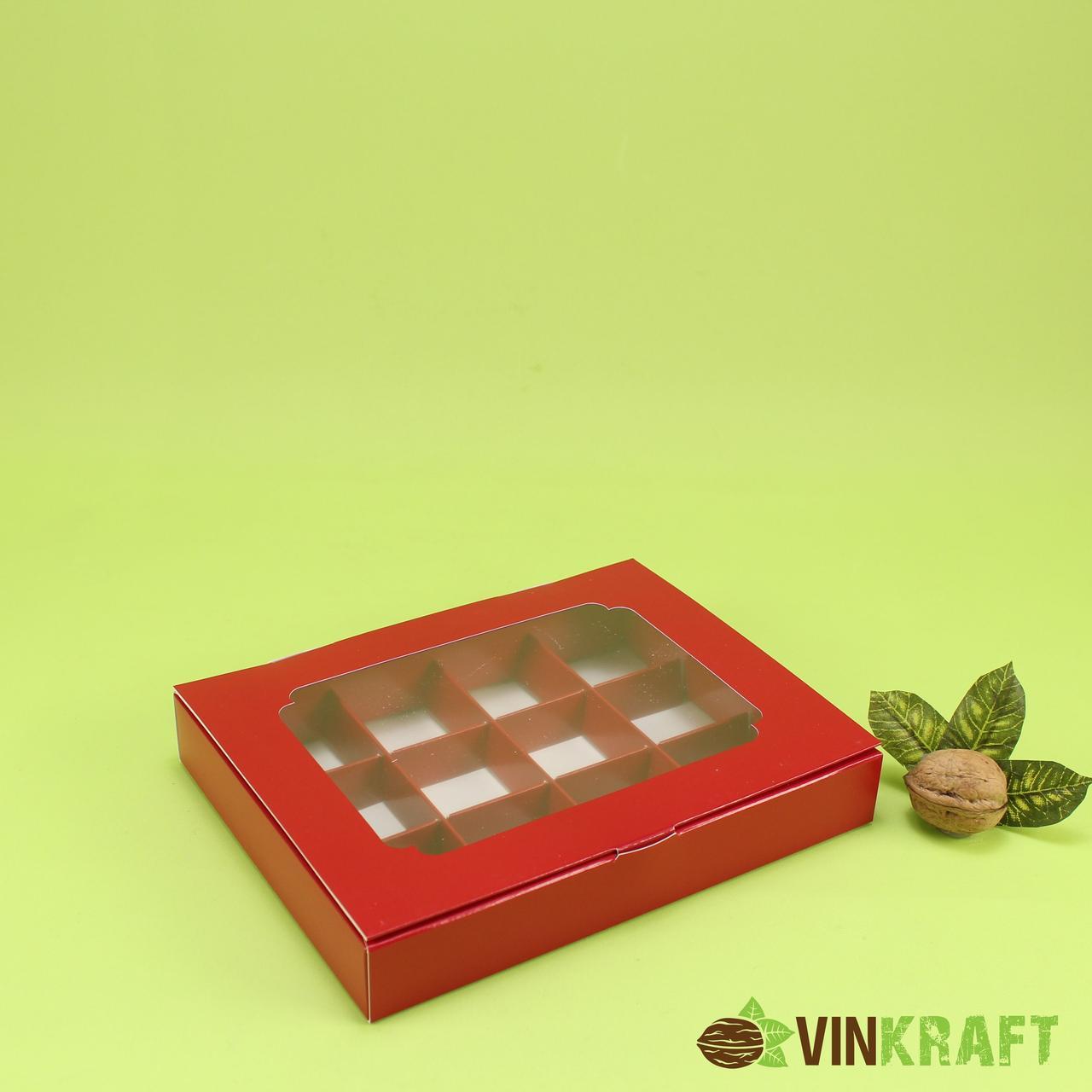 Коробка 200*156*30 для цукерок  з вікном (12 шт) , червона