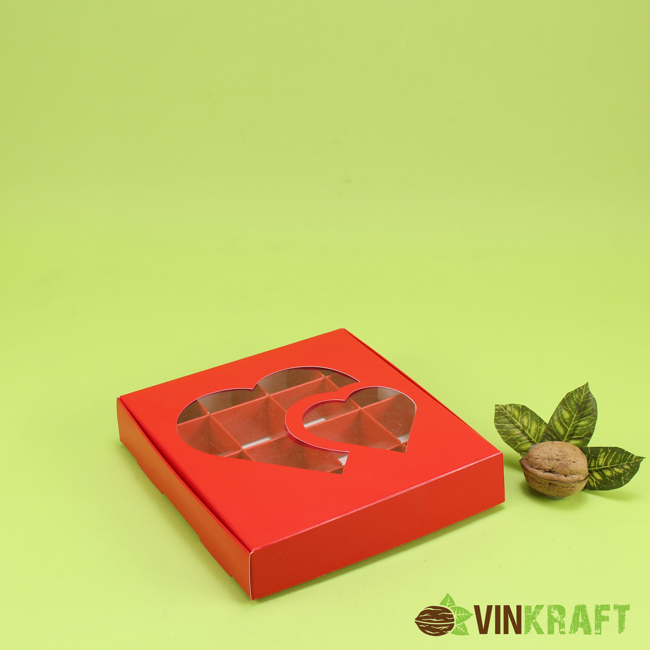 """Коробка 150*150*30 для (16 шт)  з вікном """"Два серця"""", червона"""