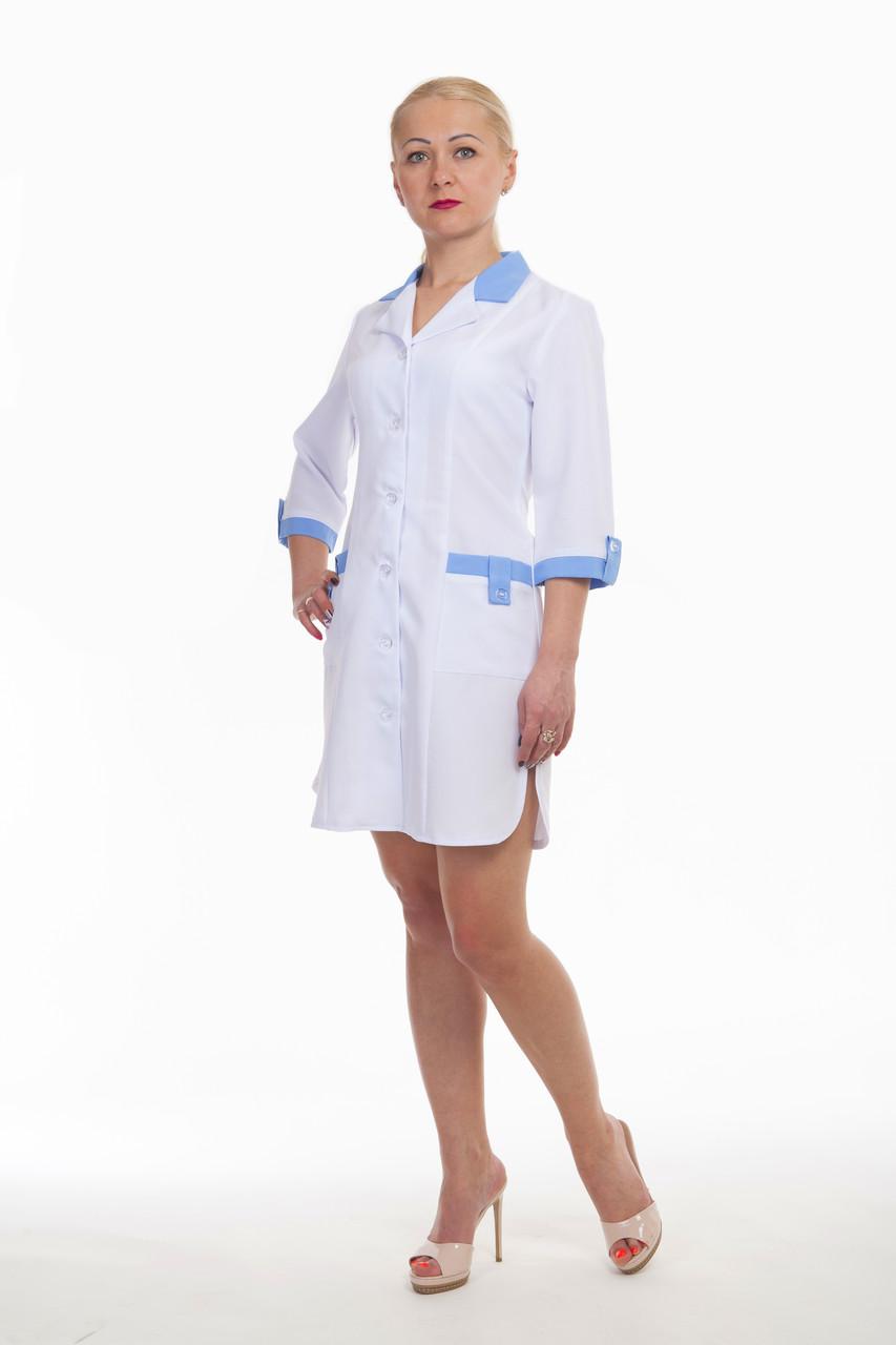 Плотные медицинские халаты (габардин) с голубыми вставками размер 42-60