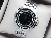 Женские кварцевые наручные часы копия Michael Kors (Майкл Корс) серебро, черный циферблат, фото 1