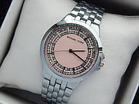 Женские кварцевые наручные часы копия Michael Kors (Майкл Корс) серебро, розовый циферблат, фото 1