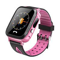 Детские смарт часы телефон Smart Baby Watch с GPS трекером Розовые (V5F)