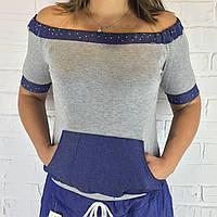 Футболка жіноча з джинсовими вставками