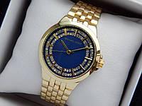 Женские кварцевые наручные часы копия Michael Kors (Майкл Корс) золото, синий циферблат